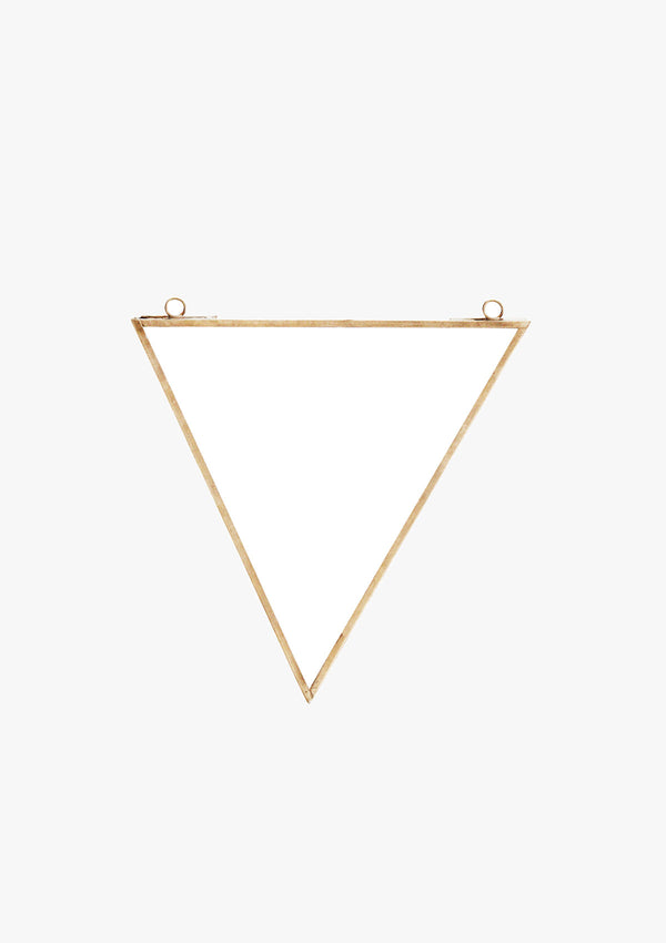 Triangle Wall Mirror with Brass Edge