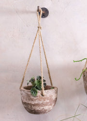 Affiti Clay Rustic Hanging Plant Pot - Small