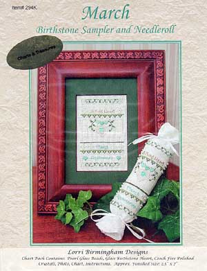 Lorri Birmingham Designs, March Birthstone (w/charm), Needles and Things