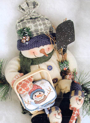 Lorri Birmingham Designs, Gift Basket Snowman, Needles and Things