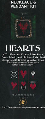 Carousel Charts, Hearts Necklace Pendant Kit, Needles and Things