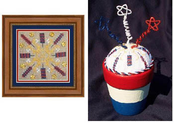 Flowers 2 Flowers, Patriotic Square & Pincushion, Needles and Things