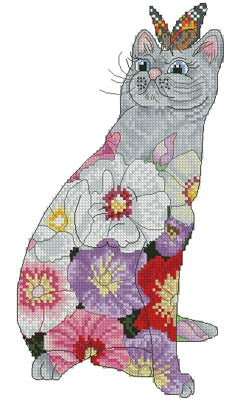 Lena Lawson Needlearts, Hollyhock Cat (Petit), Needles and Things