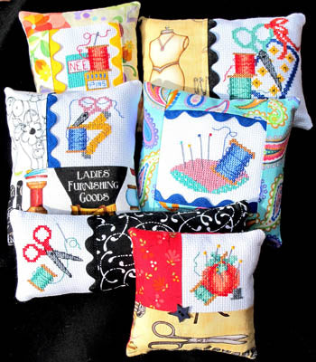 Bobbie G Designs, Six Cross Stitch Pincushions, Needles and Things