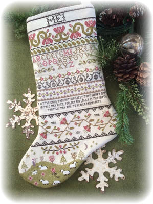 Annie Beez Folk Art, Band Sampler Stocking, Needles and Things