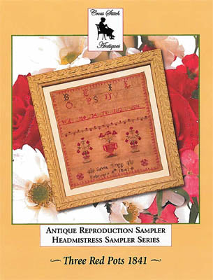Cross Stitch Antiques, Three Red Pots 1841, Needles and Things