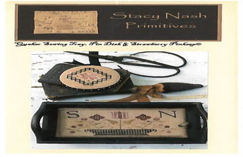 Stacy Nash Primitives, Quaker Sewing Tray, Pin Disk &Strawberry Pinkeep, Needles and Things