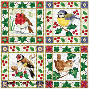 Lesley Teare, Christmas Bird Cards, Needles and Things