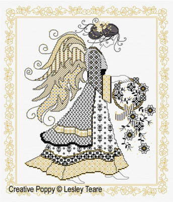 Lesley Teare, Blackwork Angel, Needles and Things