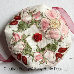 Faby Reilly Designs, Wild Rose Biscornu, Needles and Things