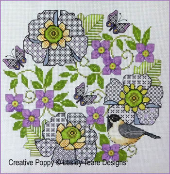 Lesley Teare, Blackwork Scabious And Chickadee, Needles and Things