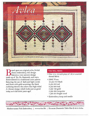 Avlea Mediterranean Folk, Etruscan Diamonds Table Mat, Needles and Things