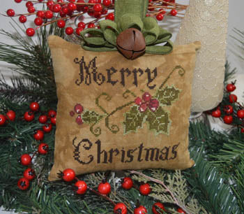 Abby Rose Designs, Primitive Merry Christmas Pillow, Needles and Things