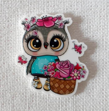 Owl With Flowers Magnet