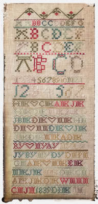 Antique Family Sampler 1839