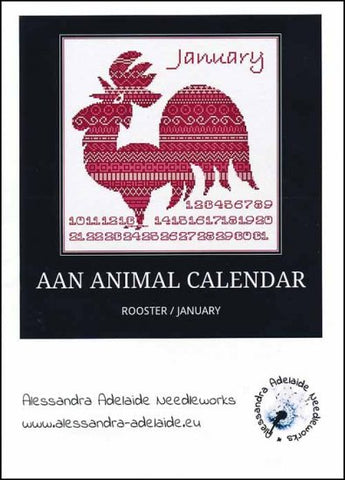 Alessandra Patterns, AAN Animal Calendar: January Rooster, Needles and Things