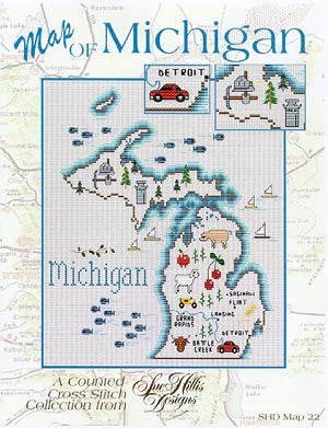 Sue Hillis Designs, Michigan Map, Needles and Things