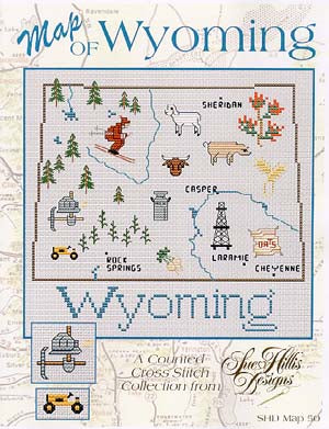 Sue Hillis Designs, Wyoming Map, Needles and Things