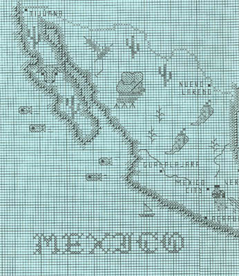 Sue Hillis Designs, Mexico Map, Needles and Things