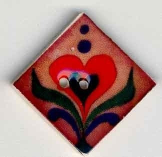 "Jim Shore Collection, Red Heart on Terracotta; 1"" x 1"" diagonally, Needles and Things"