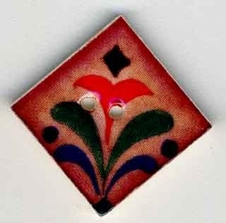 "Jim Shore Collection, Red Flower on Terracotta; 1"" x 1"" diagonally, Needles and Things"