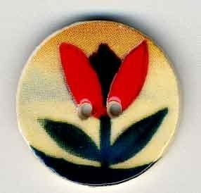 "Jim Shore Collection, Red Tulip on Beige; 3/4"" diameter, Needles and Things"