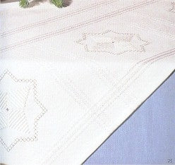"Tablecloths White with Silver; 36"" x 36"""