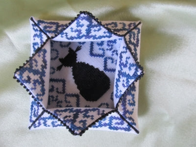Terri Bay Needlework Designs, Black Cat Lotus Box, Needles and Things
