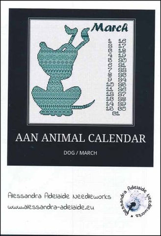 Alessandra Patterns, AAN Animal Calendar: March Dog, Needles and Things
