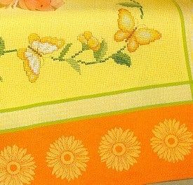 "Tablecloths Yellow with Orange Border & Yellow Ox-Eyes ; 35"" x 35"""
