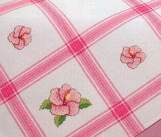 "Tablecloths White with Pink squares; 35"" x 35"""