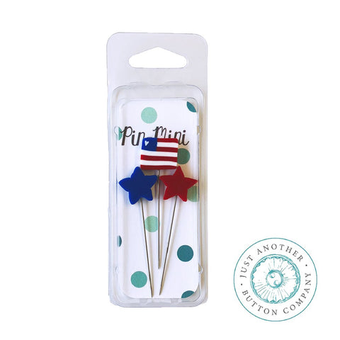 Just Another Button Company, Pin-Mini: Stars & Stripes, Needles and Things