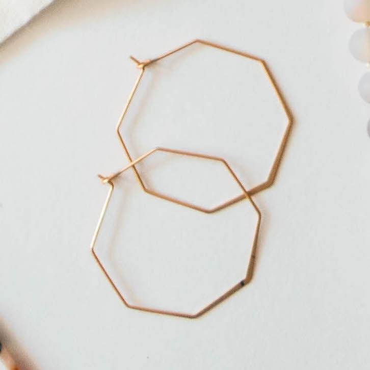 Gold Hexagon Earrings