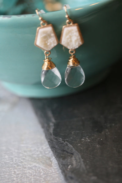 Winter White Druzy and Clear Quartz Earrings