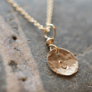 Teeny Tiny Initial Disc Necklace