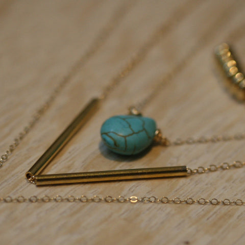 Tiny turquoise teardrop necklace