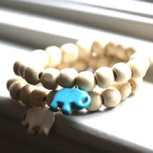 Lucky Elephant Bracelet (white wood)