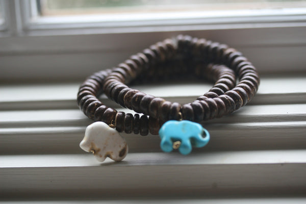 Lucky Elephant Bracelet (coconut wood beads)