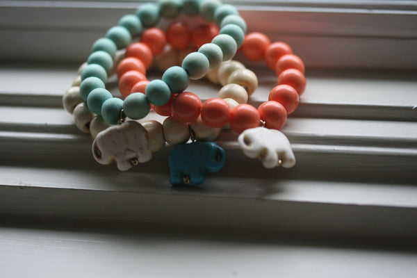 Lucky Elephant Bracelet (mint wood beads)