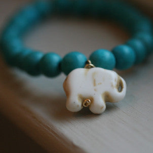 Lucky Elephant Bracelet (teal wood beads)