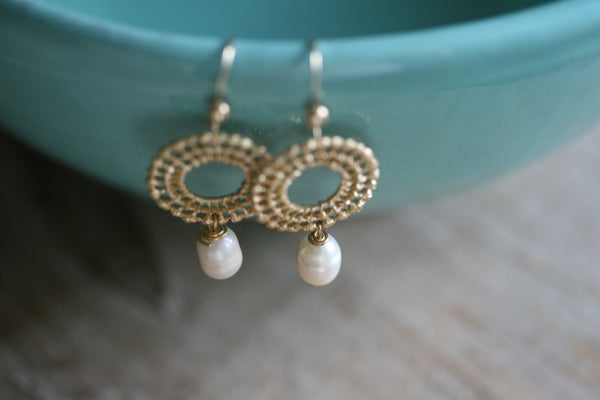 Vintage Filigree & Pearl Earrings or Bracelet