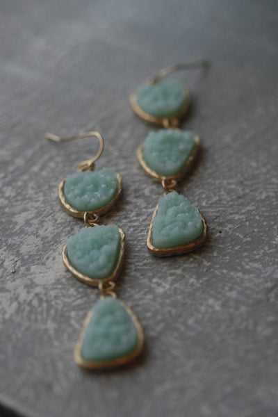 Three Drop Mint Druzy Earrings