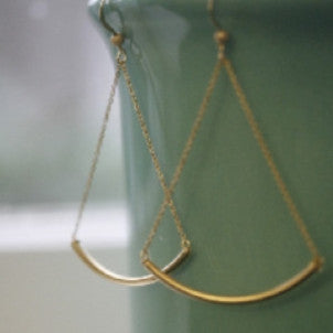 Delicate Gold Bar Earrings