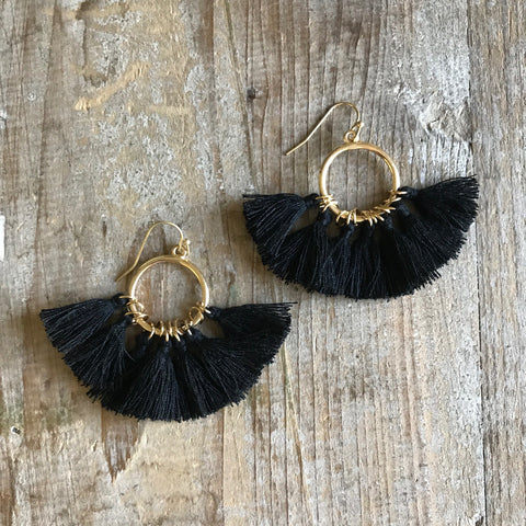 Laguna Beach Black Tassel Earrings