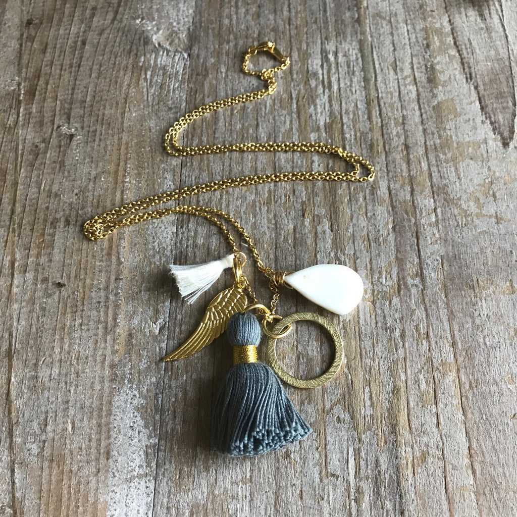 Santa Barbara Charm Tassel Necklace