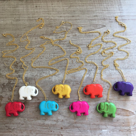 Colorful Lucky Elephant Necklaces
