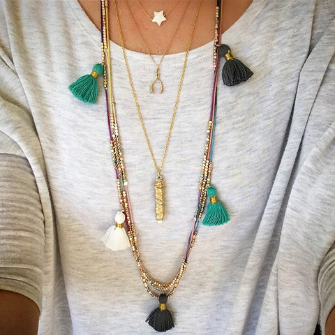 Morning Coffee Tassel Necklaces
