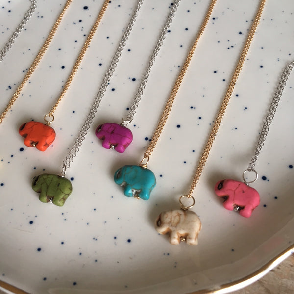Colorful Mini Lucky Elephant Necklaces