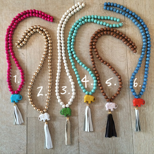 Lucky Elephant Tassel Necklaces