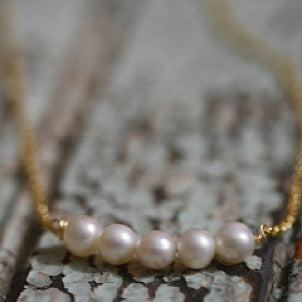 Five Pearl Everyday Necklace